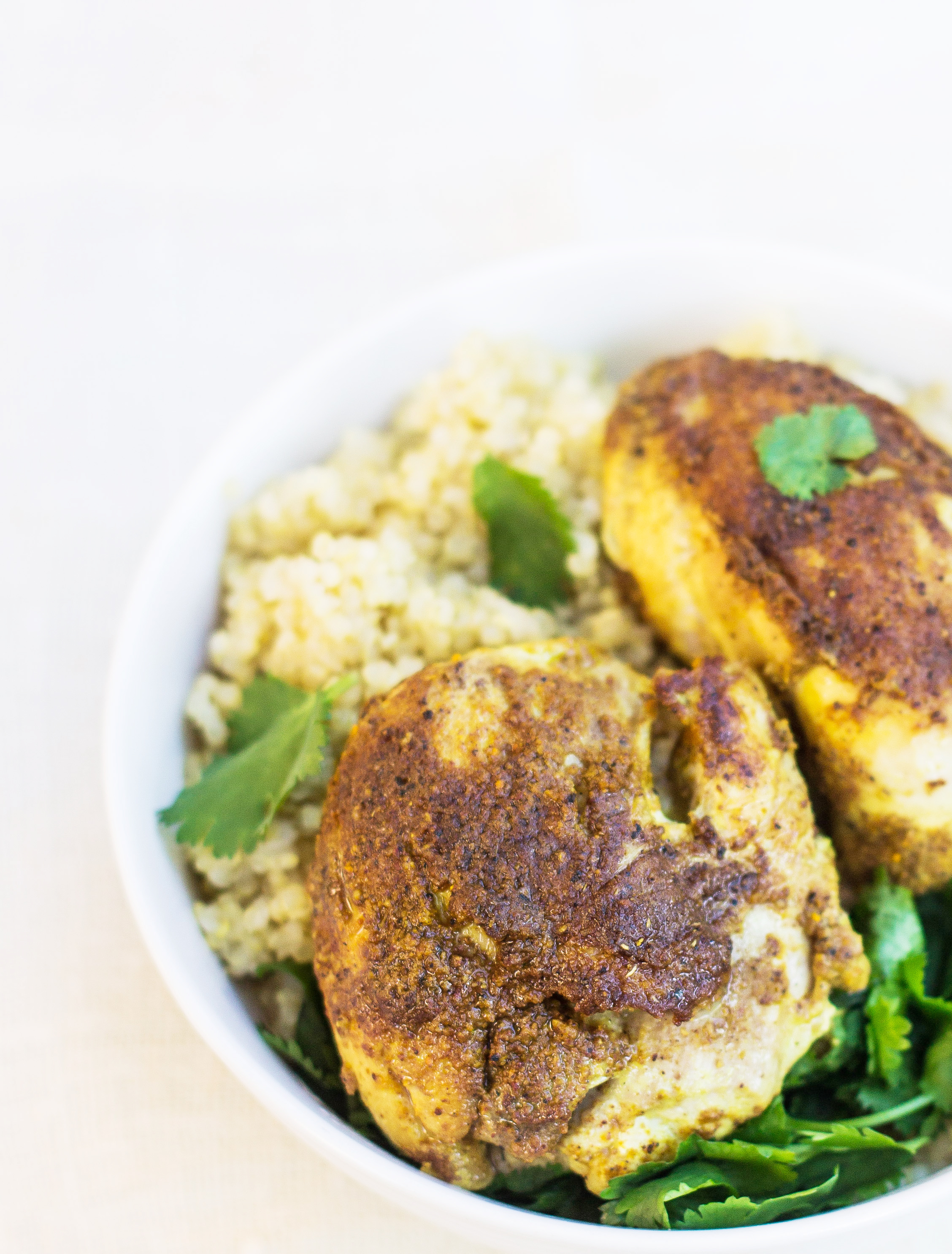 Indian-Spiced Chicken - A simple recipe from InspiredRD.com #glutenfree