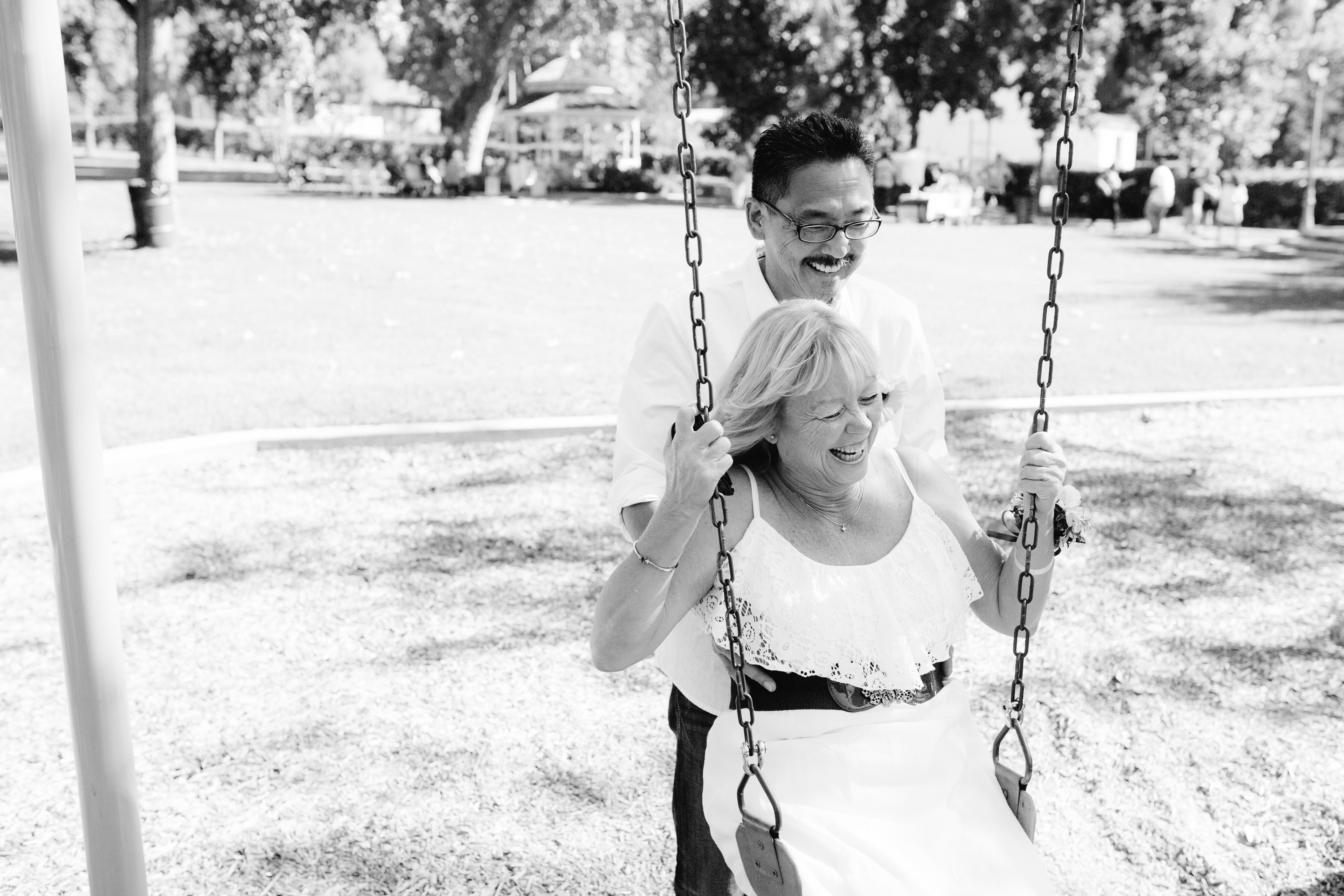 Swinging at their wedding. So sweet. (Alysa Bajenaru Photography)