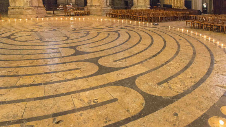Labyrinth with candles in Chartres Cathedral by photographer Jill K H Geoffrion
