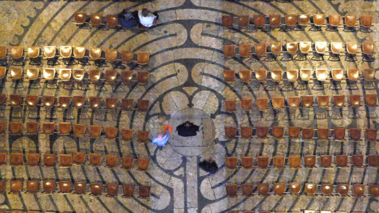 Labyrinth from above with chairs on by photographer Jill K H Geoffrion