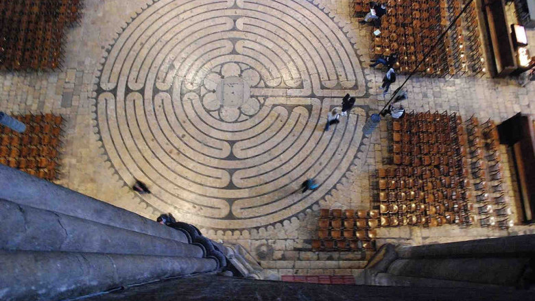 Labyrinth from above in Chartres Cathedral by photographer Jill Geoffrion