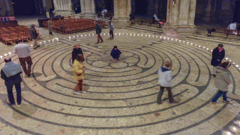 Reatreatants walking the labyrinth after hours by photographer Jill K H Geoffrion