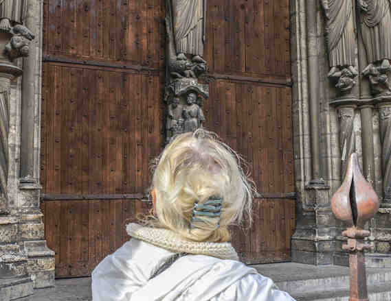 Contemplating Jesus, Le Beau Dieu at Chartres Cathedral by photographer Jill K H Geoffrion