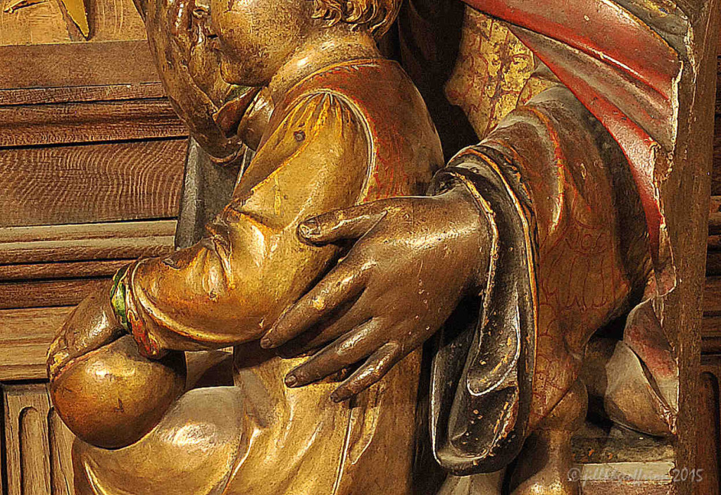 Hand of Mary around Jesus, Notre Dame du Pilier at Chartres Cathedral by photographer Jill K H Geoffrion