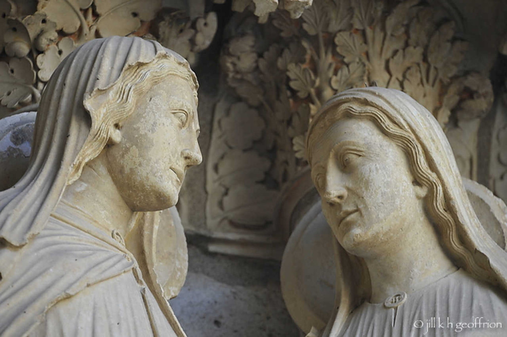Mary and Elizabeth: The Visitation on the North Porch at Chartres at Chartres Cathedral by photographer Jill K H Geoffrion