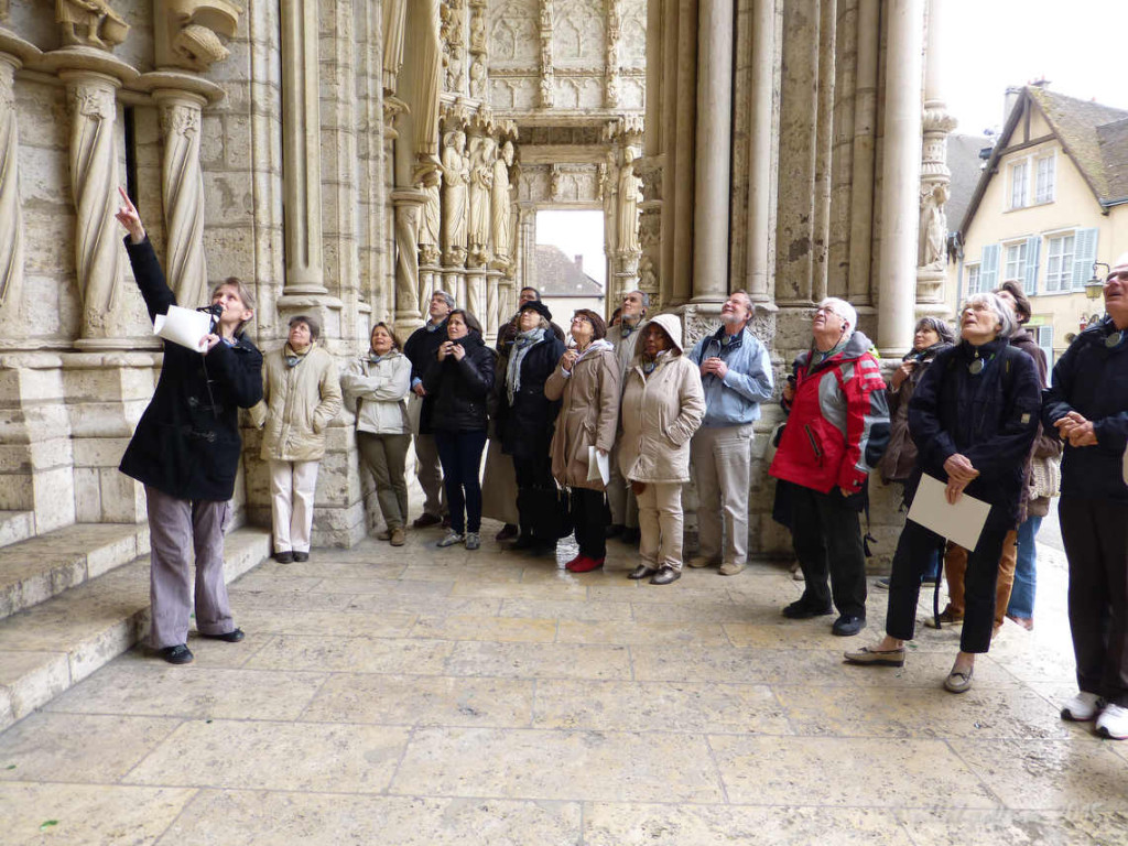North Porch, Group visiting at Chartres Cathedral by photographer Jill K H Geoffrion