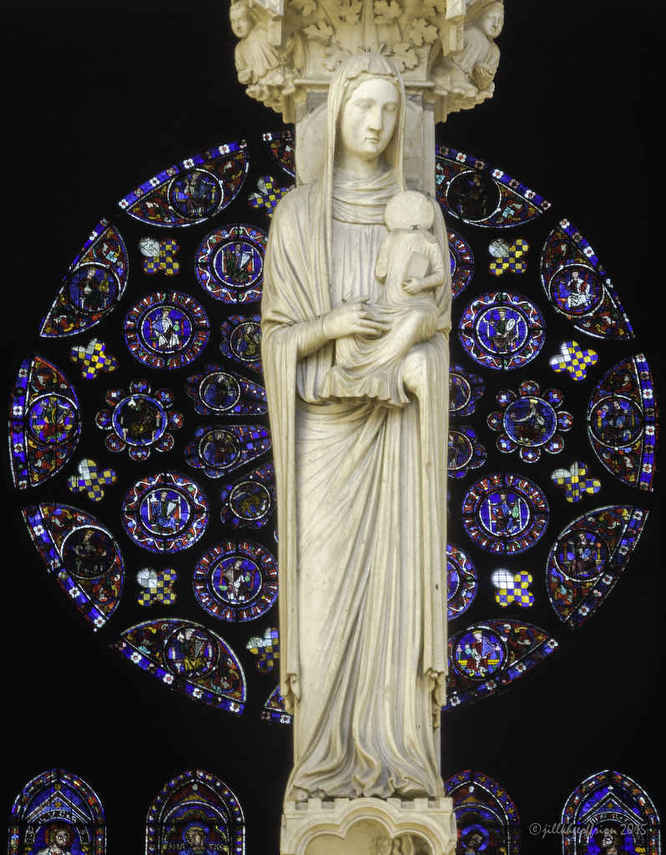 Anne holding her child, Mary with the South Rose in the background at Chartres Cathedral by photographer Jill K H Geoffrion