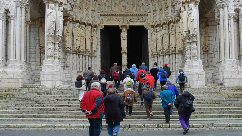 Pilgrims Entering the Cathedral from the North at Chartres Cathedral by photographer Jill K H Geoffrion