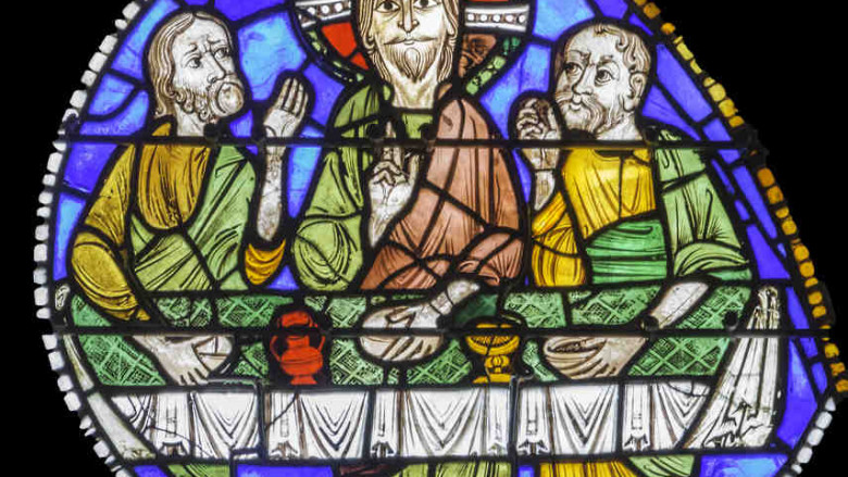 Jesus at table, Emmaus at Chartres Cathedral by photographer Jill K H Geoffrion