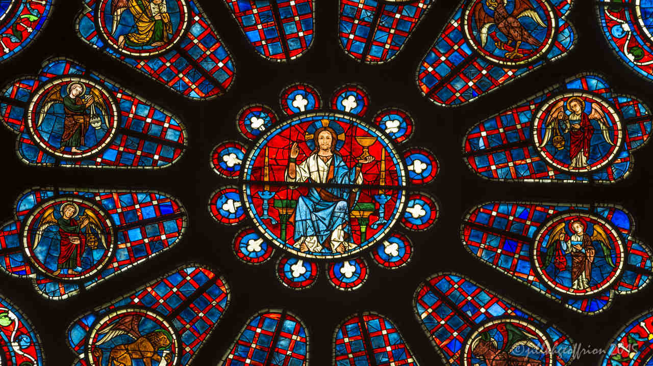 Center of the South Rose window at Chartres Cathedral by Jill Geoffrion