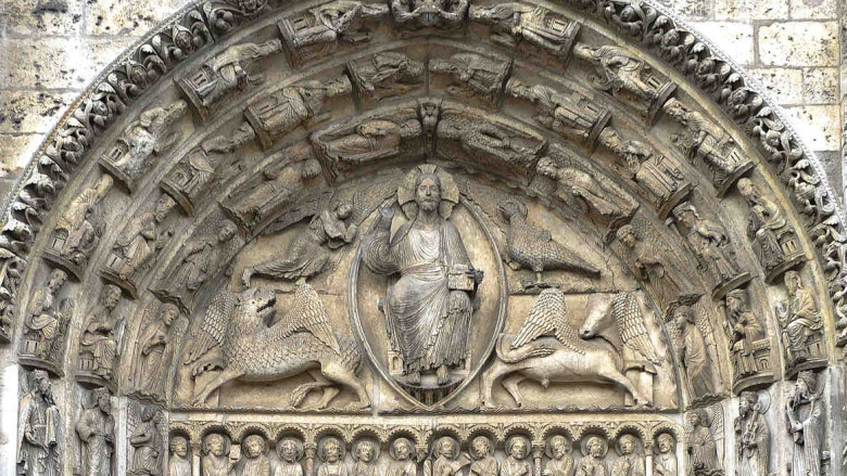 The west central tympanum of the Chartres Cathedral by photographer Jill K H Geoffrion