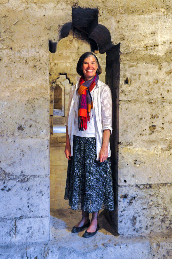 Jill Standing in a cathedral doorway at Chartres