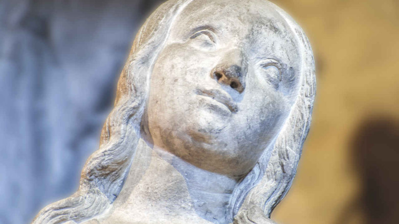 Mary, Annunciation scene in the outer choir at Chartres Cathedral by photographer Jill K H Geoffrion
