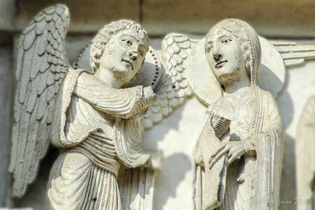 The Annunciation, West (12th century) at Chartres Cathedral by photographer Jill K H Geoffrion