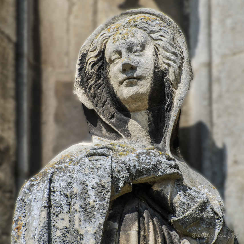 Mary, Annunciation sculpture outside the Vendome Chapel at Chartres Cathedral by photographer Jill K H Geoffrion