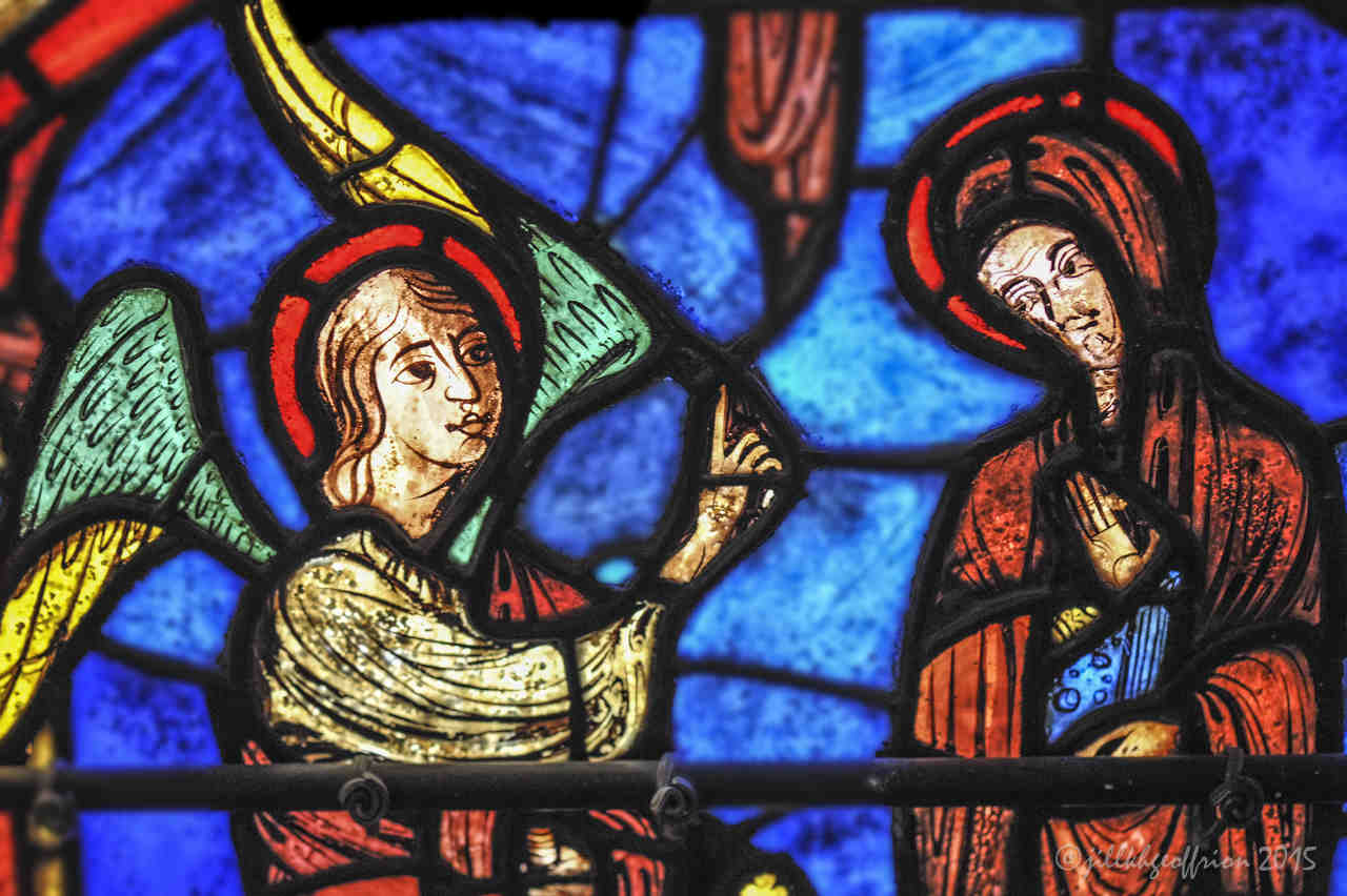 The Annunciation in the Life of Mary Window at Chartres Cathedral by photographer Jill K H Geoffrion