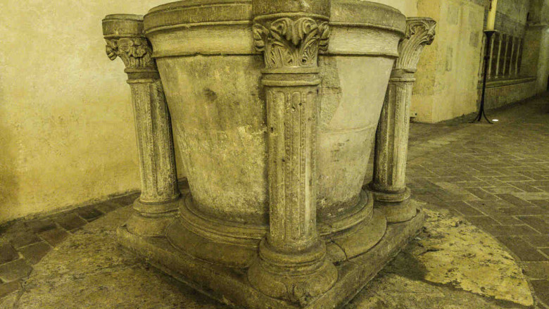 Baptistry in the crypt (13th century) of Chartres Cathedral by photographer Jill Geoffrion