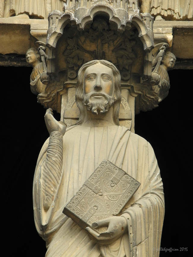 Jesus, Trumeau of South Porch by photographer Jill K H Geoffrion