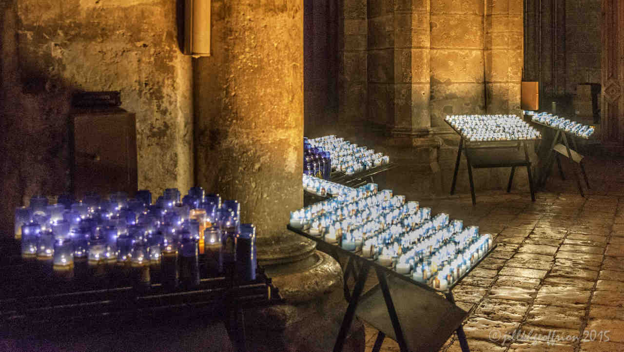Prayer Candles at Chartres Cathedral by photographer Jill K H Geoffrion