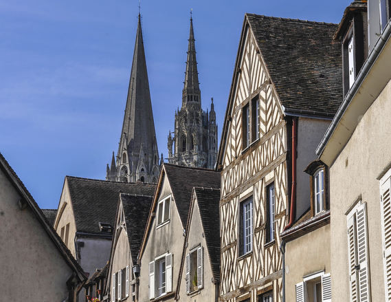 Chartres seen from the river by photographer Jill K H Geoffrion