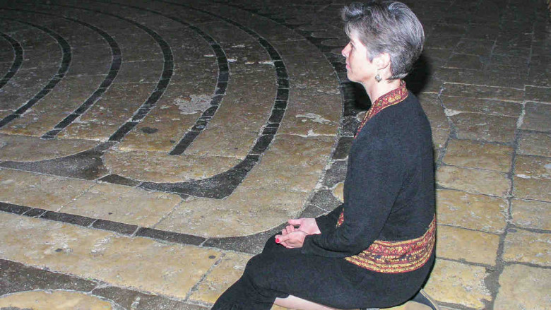 Kneeling at the threshold of the labyrinth by Cindy Pavlinak