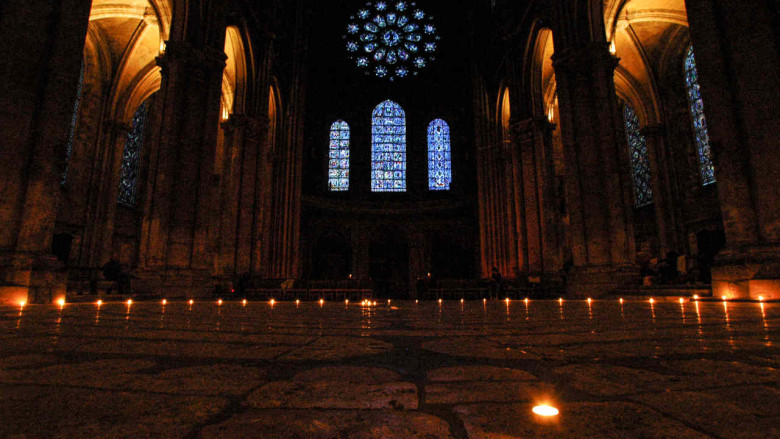 Candle lit labyrinth in Chartres Cathedral by photographer Jill K H Geoffrion