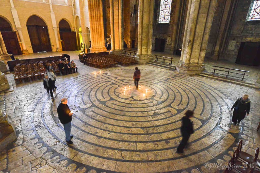 After-hours labyrinth walk in the Chartres Cathedral by photographer Jill K H Geoffrion