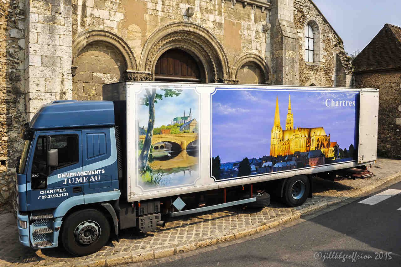 Moving Van with an image of the cathedral in Chartres by photographer Jill K H Geoffrion