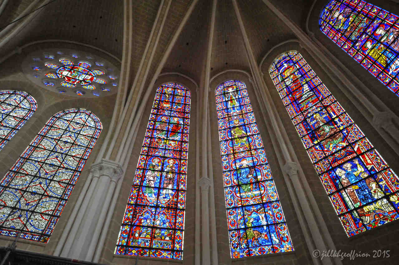Stained glass windows (13th century) above the choir by photographer Jill K H Geoffrion
