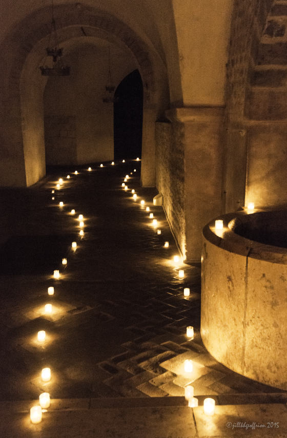 Pathway of light through the Crypt of Chartres Cathedral by photographer Jill K H Geoffrion