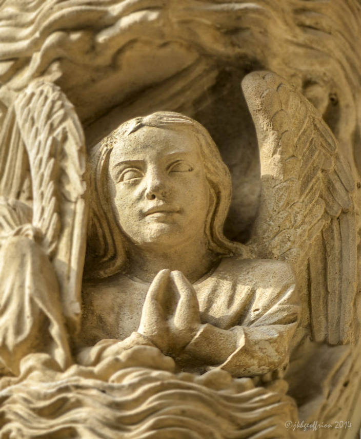 Angel Praying during Creation, North Porchat Chartres Cathedral by photographer Jill K H Geoffrion
