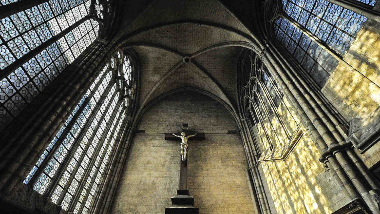 Crucifix in the sacristy at Chartres Cathedral by photographer Jill K H Geoffrion