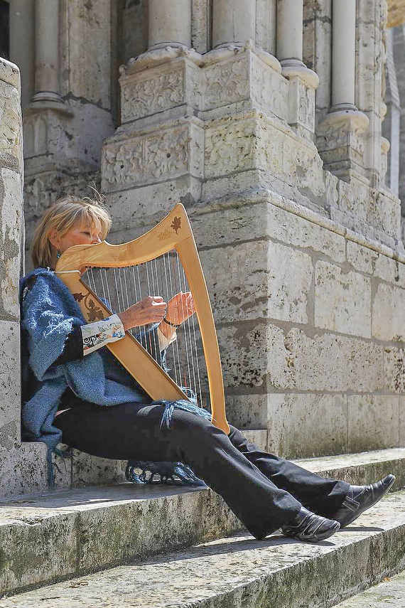 Harp Player, North Porch at Chartres Cathedral by photographer Jill K H Geoffrion