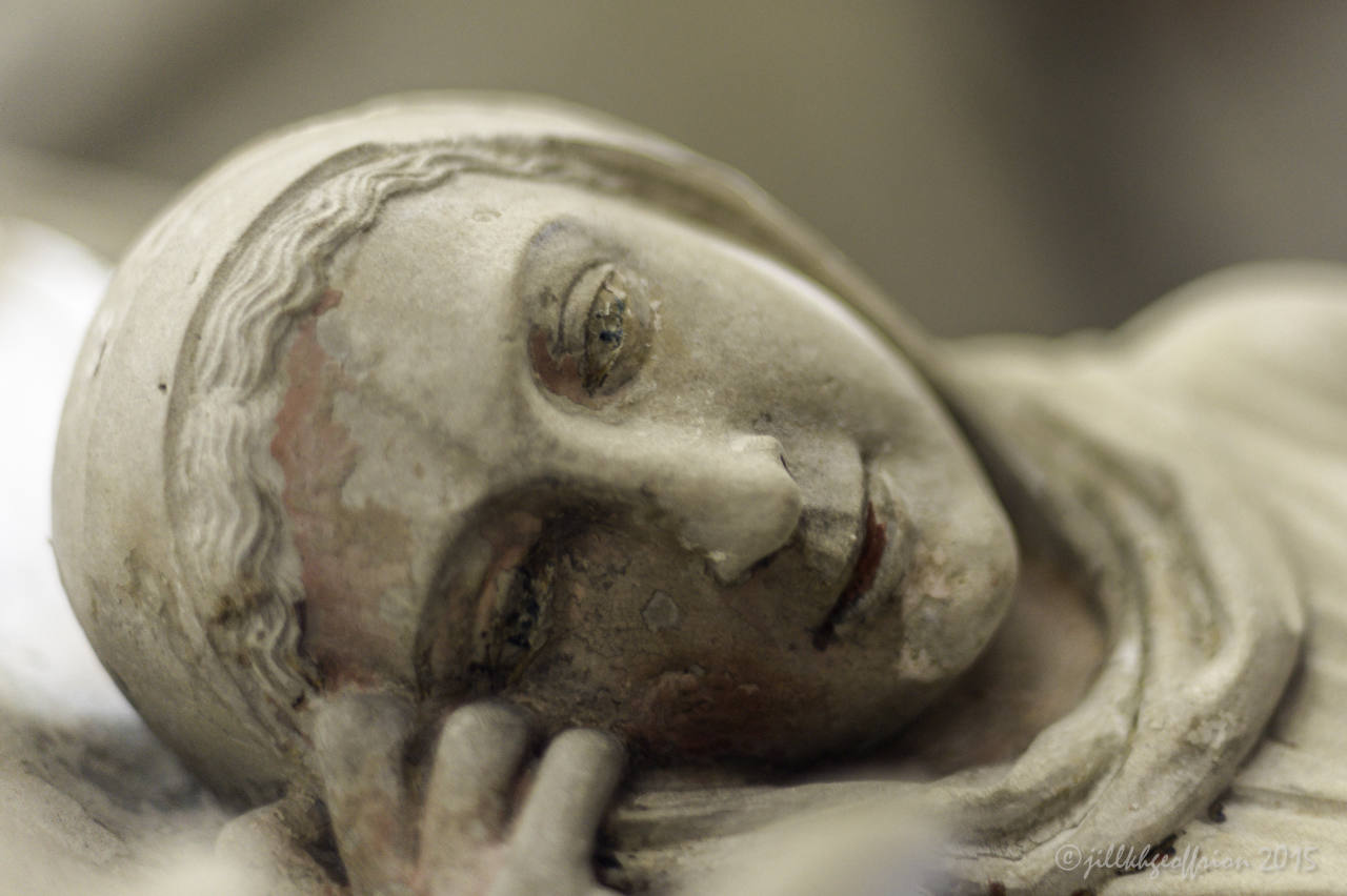 Mary, nativity sculpture from rood screen at Chartres Cathedral by photographer Jill K H Geoffrion