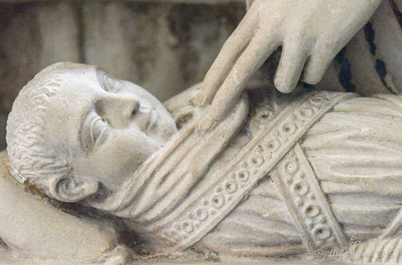 Jesus in the manger, 13th century rood screen at Chartres Cathedral by photographer Jill K H Geoffrion