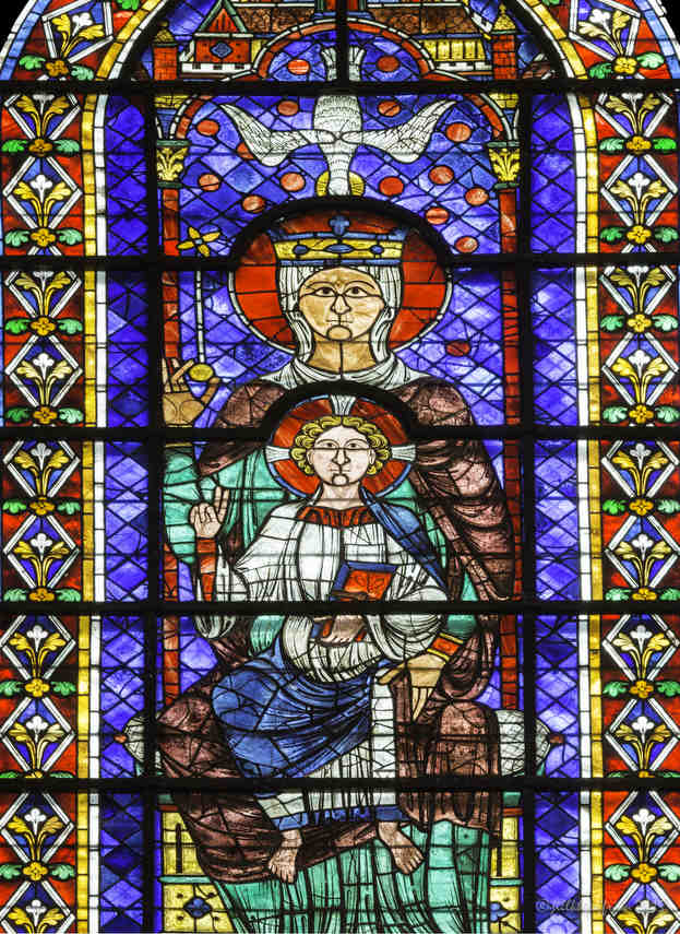 Mary with Jesus on her lap, upper north choir (13th century) at Chartres Cathedral by photographer Jill K H Geoffrion