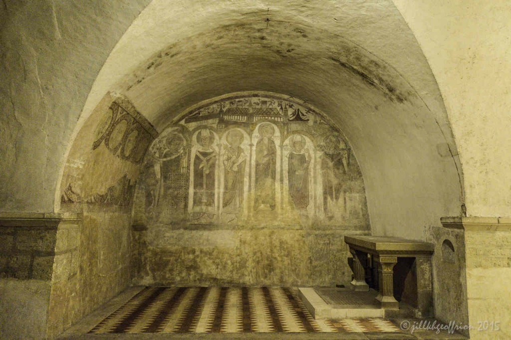 Mural of the Confessors, Crypt of Chartres Cathedral by photographer Jill K H Geoffrion