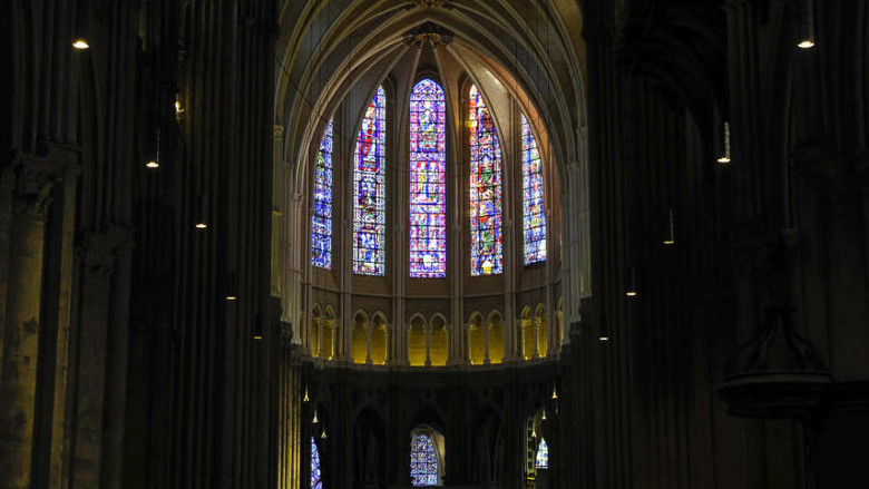 Looking east inside the Chartres Cathedral
