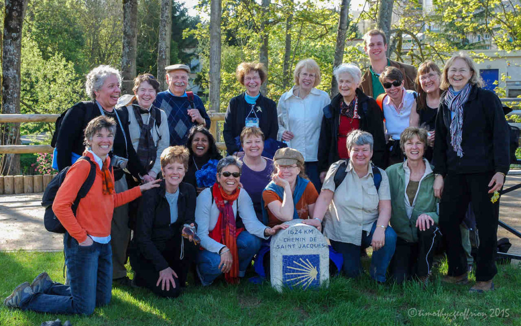Group posing by the Camino Sign in Chartres by Jill K H Geoffrion in Chartres