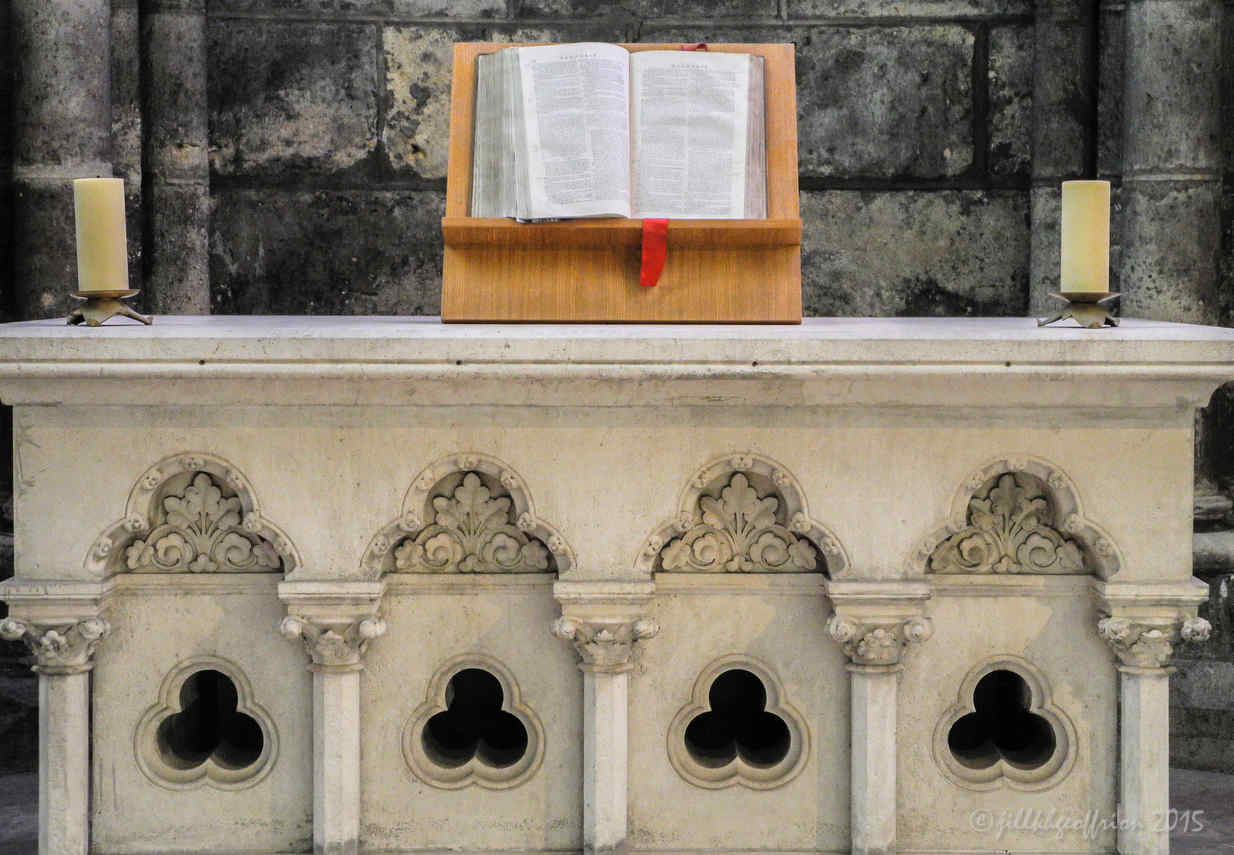 Protestant Bible offered to the Cathedral for the Ecumenical Chapel by photographer Jill K H Geoffrion