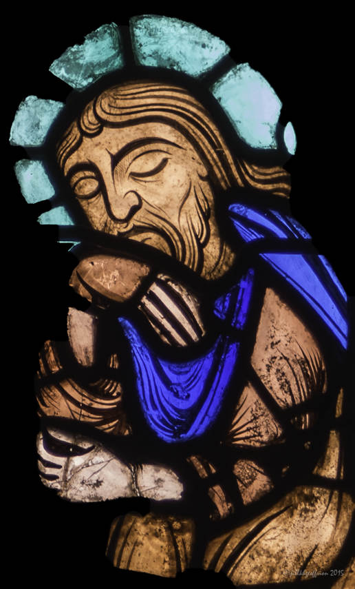 Joseph (dreaming) at the birth of Jesus at Chartres Cathedral by photographer Jill K H Geoffrion