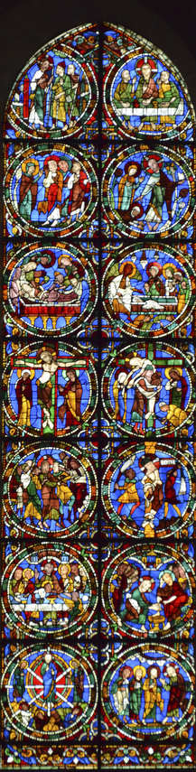 The Passion and Resurrection Stained Glass Window (Twelfth Century)at Chartres Cathedral by photographer Jill K H Geoffrion