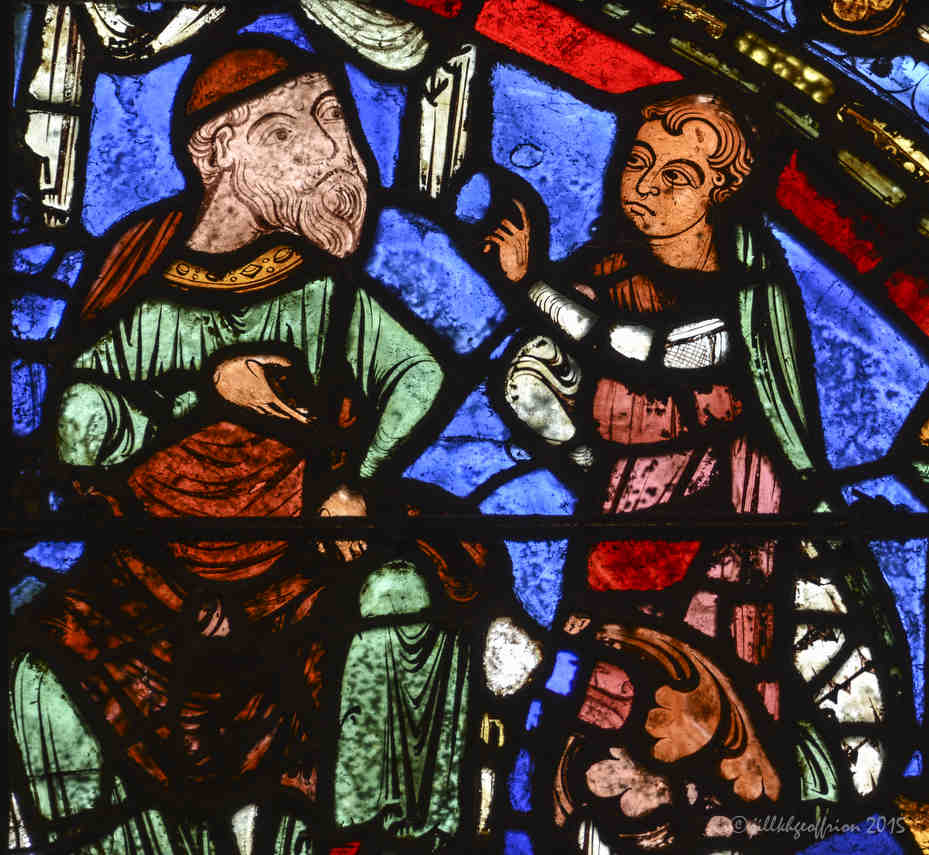 The prodigal son asks his father for his inheritance at Chartres Cathedral by photographer Jill K H Geoffrion
