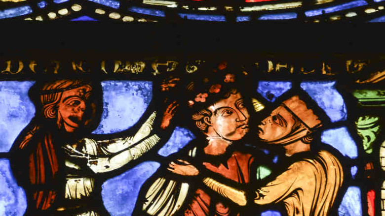 Prodigal son and women at Chartres Cathedral by photographer Jill K H Geoffrion