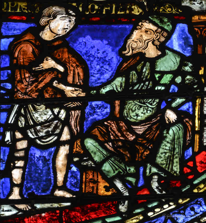 Prodigal son hiring himself out at Chartres Cathedral by photographer Jill K H Geoffrion