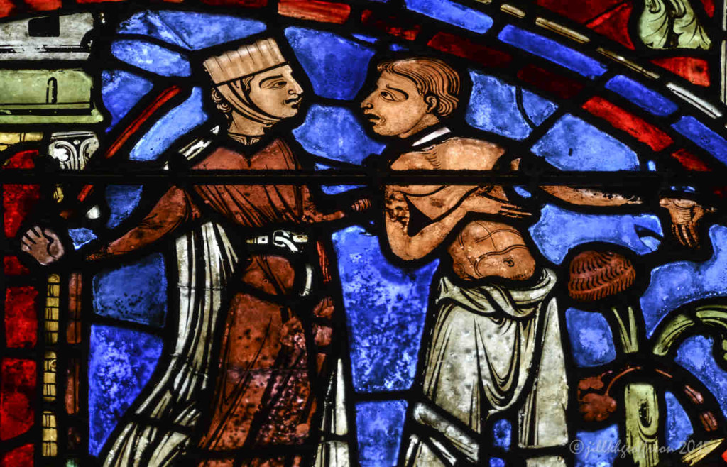 Prodigal son with a woman at Chartres Cathedral by photographer Jill K H Geoffrion