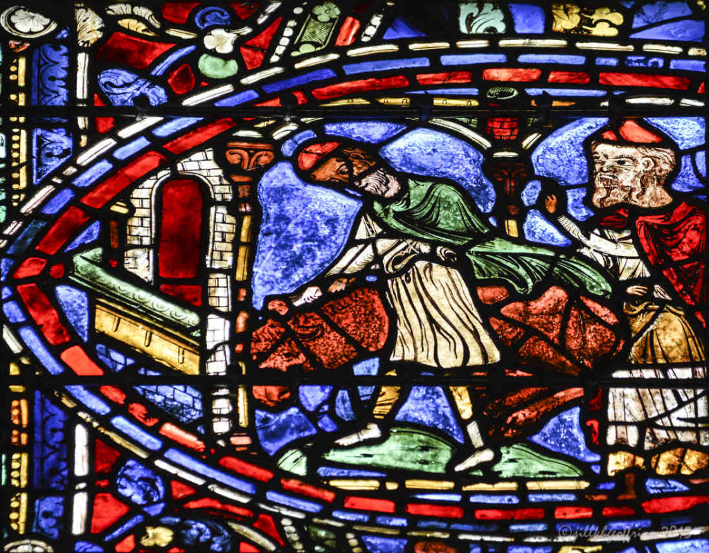 Killing the fatted calf,Prodigal Window at Chartres Cathedral by photographer Jill K H Geoffrion