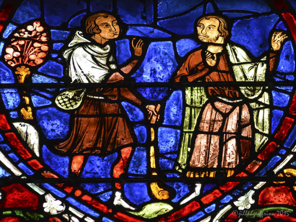 Prodigal son speaks with his father at Chartres Cathedral by photographer Jill K H Geoffrion