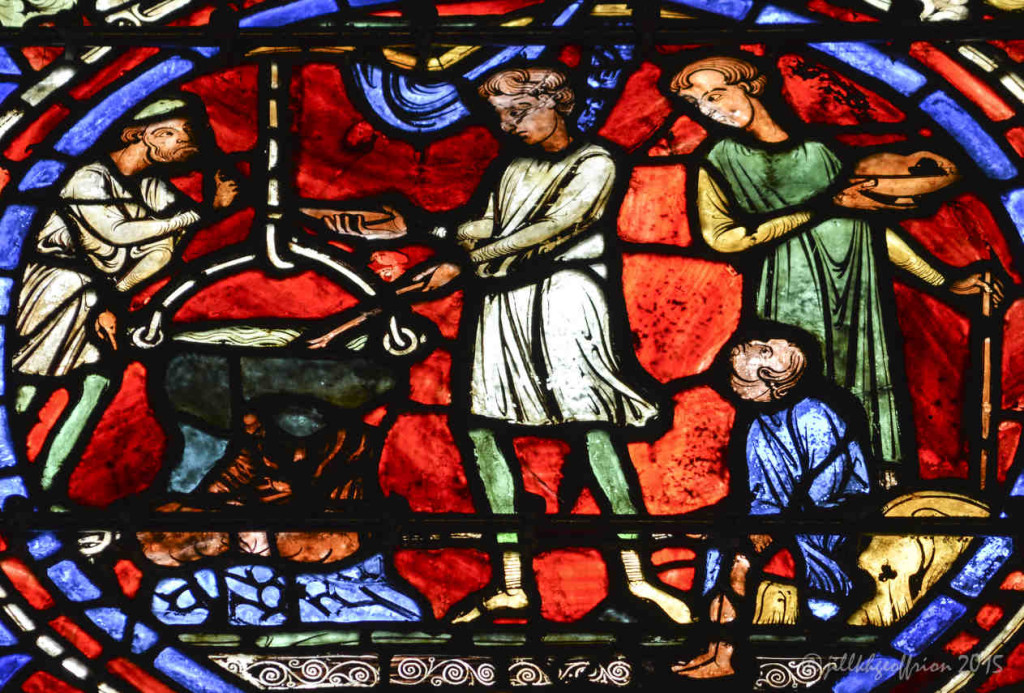 Preparing the feast, Prodigal Window at Chartres Cathedral by photographer Jill K H Geoffrion