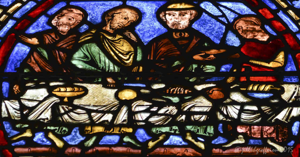 Feasting, Prodigal Son window at Chartres Cathedral by photographer Jill K H Geoffrion